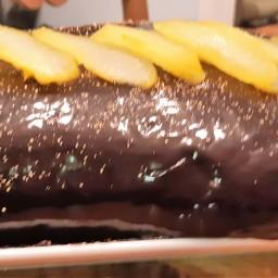 Bûche diplomate au safran, poire et chocolat